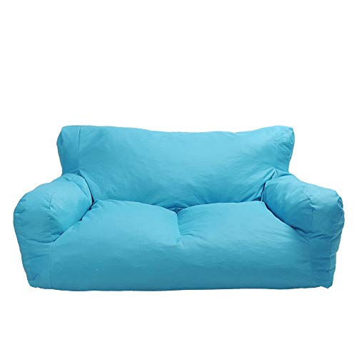 Blue Bean Bag Chair Kids Self-Inflated Sponge Stuffed Beanless Dorm Chair for Adults,Double Seats Sofa Lounger Couch Furniture for Indoor and Outdoor
