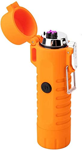 Waterproof Lighter USB Plasma Lighter Rechargeable Electric Lighter Waterproof with Flashlight Flameless Lighter Windproof Arc Lighter for Outdoor Camping Hiking (Orange)