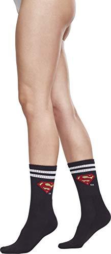 MERCHCODE Superman Double Pack Socken, Black/White, 47-50
