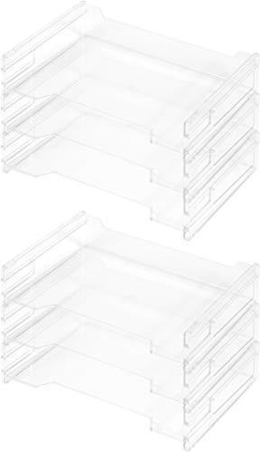 Herlitz 1610393 Ablagekorb A4 quer, transparent und stapelbar (6 Stück, Ablagekorb A4 quer)