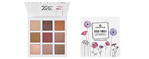 Essence Good Vibes Good Memories Eyeshadow Palette Nr. 01 bloom, baby, bloom Inhalt: 13,5g Lidschatten in 9 Nude- und Brauntönen für die Augen.