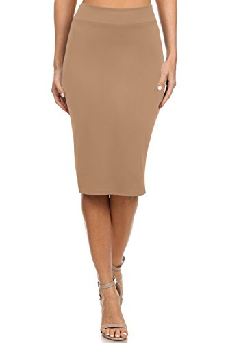 Reg and Plus Size Pencil Skirts for Women Below The Knee. Work,Weekends,Date Nights,Sexy Office Business Bodycon Skirts (Size X-Large, Khaki)