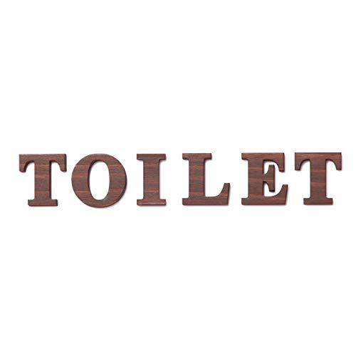 店舗用 BIGサイズ 木製 切文字サイン (TOILET) 2色 国産ヒノキ材 トイレマーク トイレサイン シール式 (ダークブラウン)