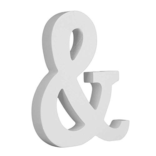 Kylewo Letras de Madera Blancas, decoración de Bricolaje artesanía Letras de Madera de Madera Nupcial Fiesta de Bodas cumpleaños Juguete Decoraciones para el hogar, Altura 15 cm