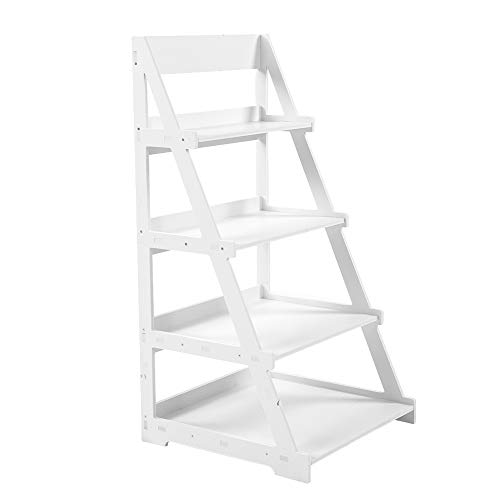Zerone Estantería de madera de 4 niveles, 4 niveles, color blanco, con soporte de flores, escalera, estante de almacenamiento, estante de almacenamiento, estantería de baño, 44 x 43 x 85,8 cm