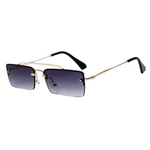 Yying Small Retro Shades Rectangle Gafas de sol Hombres Marco de Metal Gafas de sol de lente clara para Mujeres Unisex UV400