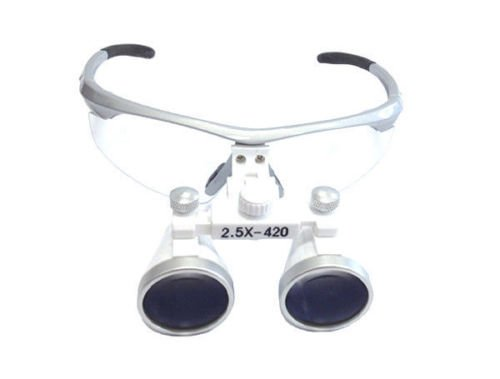 BoNew 2.5x420mm Dental Loupes Surgical Binocular Loupe Magnifying Glasses Silver