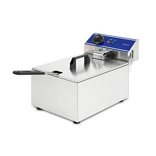 vertes friggitrice elettrica 10L (Cestino per friggere, 3000 Watt, 230V, Temperatura Regolabile Fino a 200°C, Principio della Zona Fredda, Acciaio Inox)