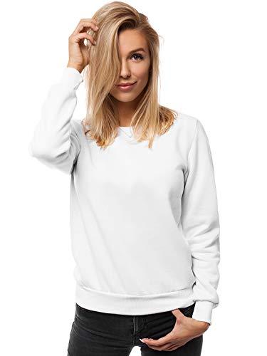 OZONEE Damen Sweatshirt Pullover Langarm Farbvarianten Langarmshirt Pulli ohne Kapuze Baumwolle Baumwollmischung Classic Basic Rundhals-Ausschnitt Sport JS/W01 WEIẞ S