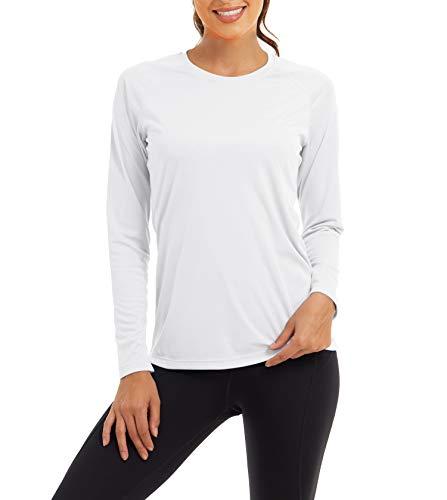 KEFITEVD Ropa de protección UV UPF 50+, camiseta de manga larga de secado rápido, transpirable, camiseta de manga larga funcional para deportes al aire libre Blanco M