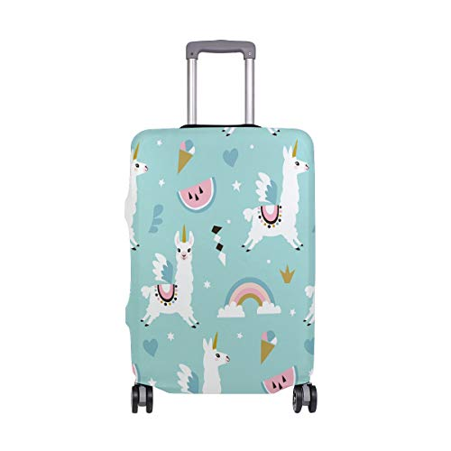 Orediy Elastic Travel Luggage Cover Cute Unicorn Llama Print Trolley Case Suitcase Protector(Without Suitcase) S M L XL Size