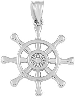 925 Sterling Silver Nautical Ship Steering Wheel Charm Pendant product image