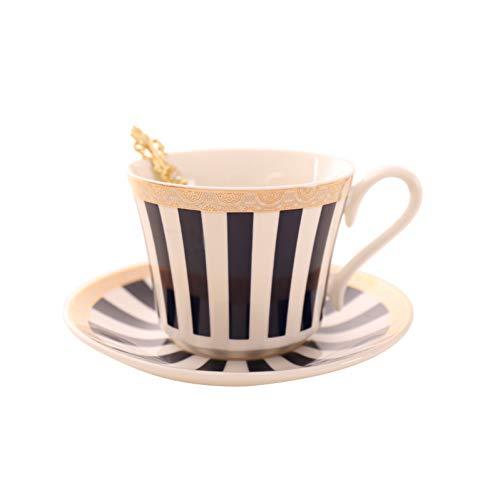 PLDKFB Kaffeetasse Streifen Kaffeetasse Untertasse Gold Löffel Set Elegante Keramik Teetasse 225 Ml Porzellan Teetasse Cafe Drinkware, Dark Blue Piano