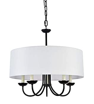 A1A9 Modern 5-Light Drum Pendant Light Fixture 21   White Fabric Shade Simple Chain Hanging Ceiling Lights Black Chandelier Fitting for Entryway Hallway Dining Room and Foyer
