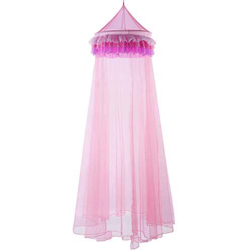 COSTWAY Betthimmel aus Polyester, Kinder Moskitonetz rosa, Mückennetz inkl. Haken, Baldachin für Baby und Kinder, Bettdekoration hängend 60x210x650cm