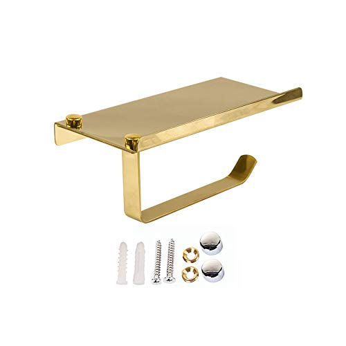 Fyore Toilet Paper Holder Storage SUS304 Stainless Steel Heavy Duty Drilling Bathroom Tissue Roll Holder with Phone Storage Shelf (gold)