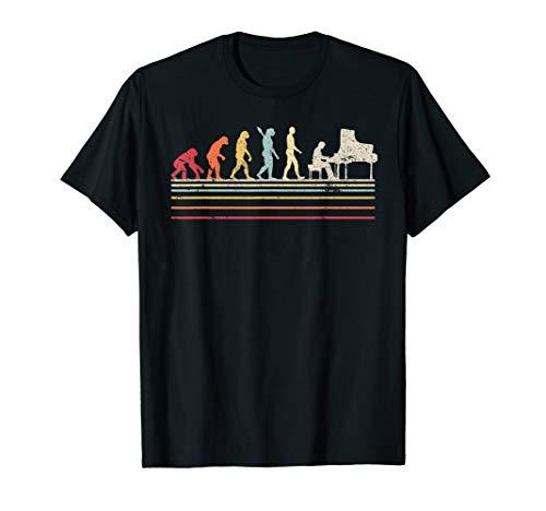 Funny Piano T Shirt. Retro Vintage Evolution Of Man Shirt