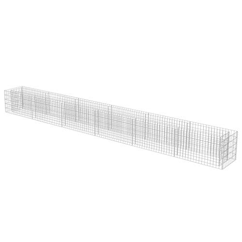 vidaXL Gabionen Hochbeet Verzinkter Stahl 540x50x50 cm Pflanzkorb Steinkorb