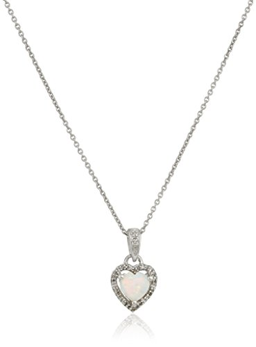 Sterling Silver Heart Created Opal Diamond Pendant Necklace, 18