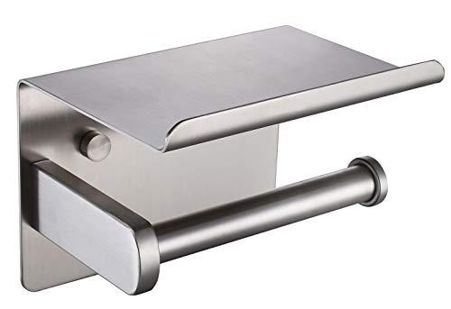 Fomost Toilettenpapierhalter, SUS304 Edelstahl Klopapierhalter Selbstklebend oder Schrauben Installation, Gebürstet Papierrollenhalter mit Telefonablage für Küche und Badzimmer F928-03B