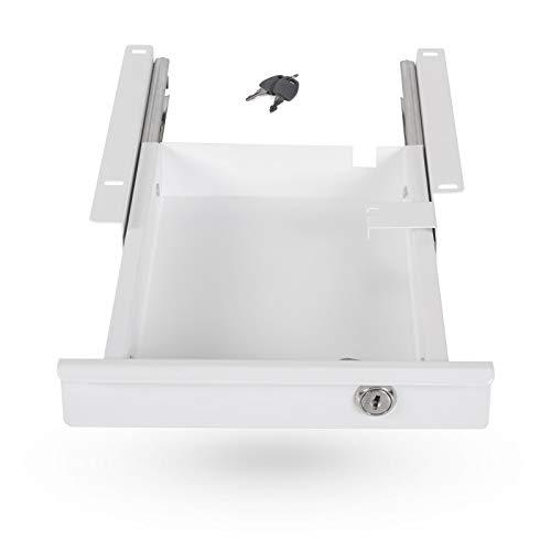 Tiroir Range Documents Fermant à Clé 220 x 265 x 45 mm blanc Tiroir sous Bureau Tiroir Rangement Bureau de SO-TECH®