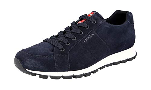 Prada Herren Blau Leder Sneaker 4E3233 O53 F0355 44 EU/UK 10