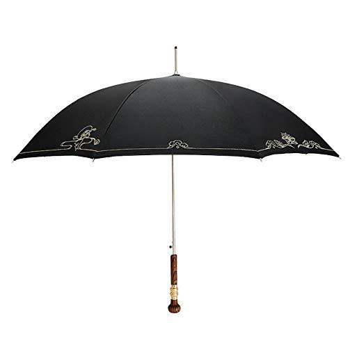 Paraguas recto de mango largo masculino doble Business Queen Retro paraguas lluvia o brillo doble uso, B, 65 x 8 k