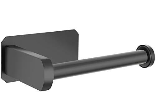 Perfectosan   Toilettenpapierhalter ohne Bohren   Superior-Collection   Modell Tosia   Klopapierhalter zum Kleben  (Schwarz)