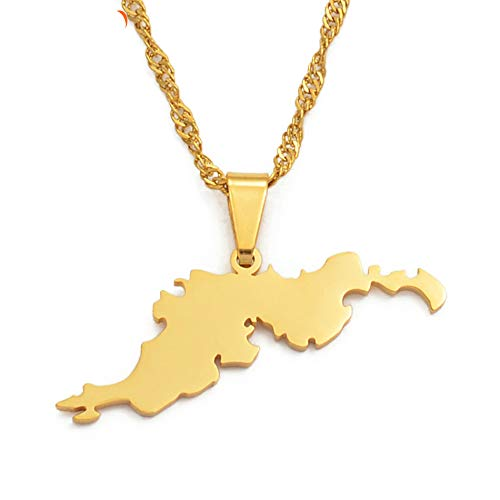 VAWAA Las Islas Vírgenes Británicas Tortola BVI Mapa Collares de Cadena Pendientes para Mujeres Niñas Joyas Regalos 45cm Cadena Delgada