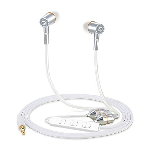 Tuisy Air Tube Headset - Upgraded Radiation Free Headphones Earbuds Earphone with Microphone and Volume Control, EMF Protection, Universal for iPhone Samsung iPad iPod MP3 & More, White