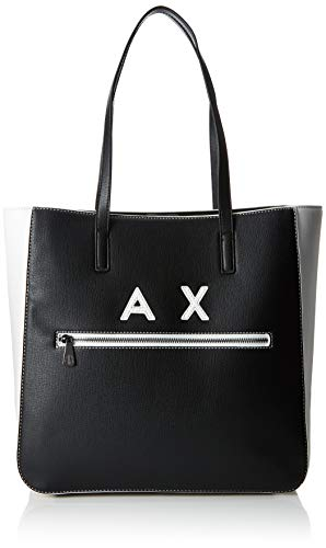 ARMANI EXCHANGE Shoulder Bag - Borse Tote Donna, Nero (Black/White), 34.5x12x35 cm (B x H T)