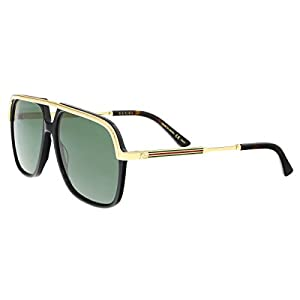 Fashion Shopping Gucci GG0200S 001 Black/Gold GG0200S Square Pilot Sunglasses Lens Category 3, 57-14-145