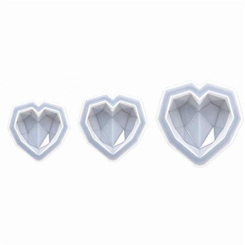 FENCHUN Harz Schmuck Mold 3D Diamant Liebe herzförmige Form Epoxy für Schmuckherstellung Werkzeuge (Color : B 3pcs)