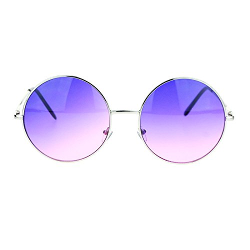 Hippie Retro Groovy Gradient Oversize Circle Lens Round Lennon Sunglasses Purple