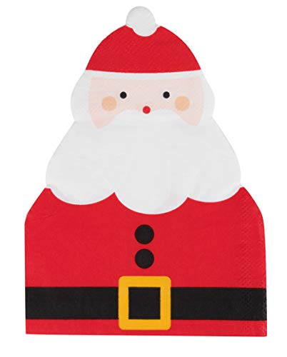 Santa Claus Die Cut Paper Napkins for Christmas Party (4.6 x 6.25 In, 50 Pack)