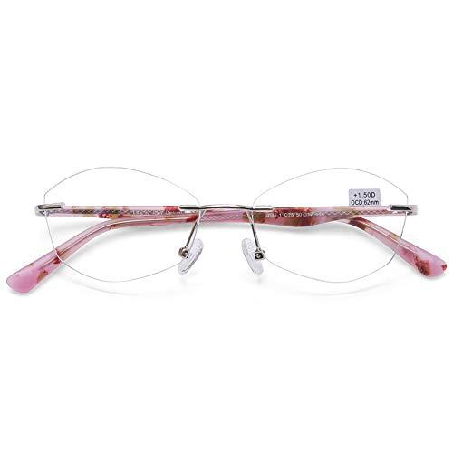 DOOViC Blaulichtfilter Randlose Lesebrille 3,0 - Transpartente Gläser Metall/Kunststoff Brille mit Sehstärke Lesehilfe für Herren/Damen