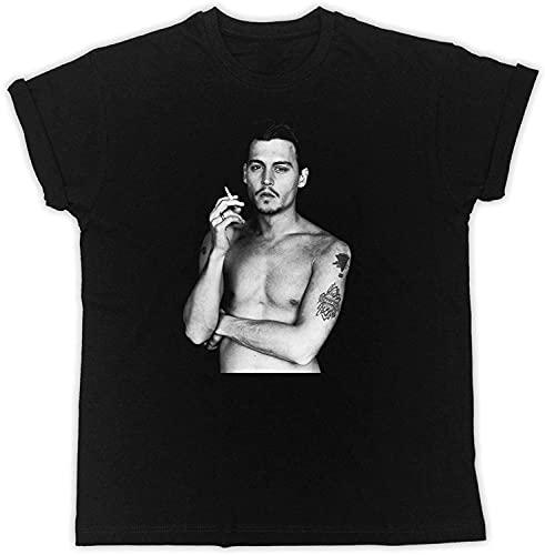SBD14ZZU Johnny Depp Rauchen Geschenk Designer Geschenk Sommer Kurzarm Schwarz T-Shirt
