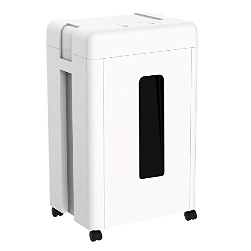 WOLVERINE 15-Sheet Super Micro Cut High Security Level P-5 Heavy Duty Paper/CD/Card Shredder for Home Office, Ultra Quiet by Manganese-Steel Cutter and 8 Gallons Pullout Waste Bin SD9520 (White ETL)