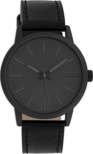 Oozoo Damenuhr mit Lederband 40 MM Black/Dunkelgrau/Schwarz C10019