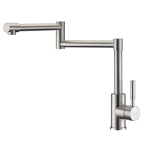 Heouty Modern Single Handle 2 Joints Free Rotating SUS304 Stainless Steel Pot Filler Faucet, Brushed Nickel Deck Mounted Kitchen Sink Faucet