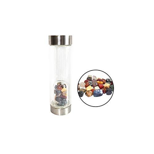 LULIJP Kristallquarz Flasche Edelstein Glas Wasserflasche Becher Gem Ängstlicher Kristall Gemischt Bunte Kristall (Color : 3 Mixed Crystal, Size : One Size)