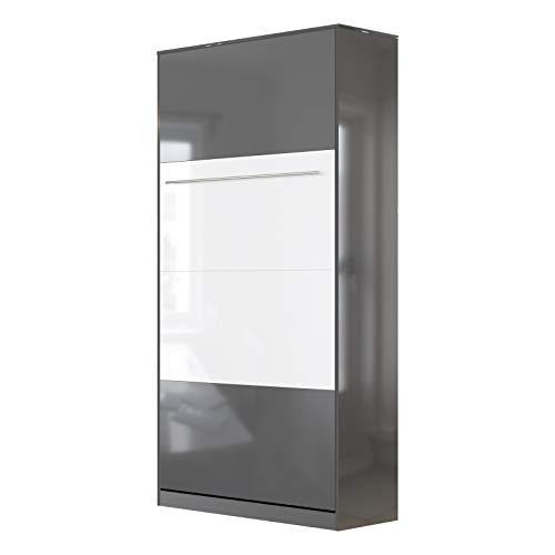 SMARTBett Standard 90x200cm Vertical Antracita Alto Brillo/Antracita Alto Brillo & Blanco Alto Brillo | Cama Abatible, Cama De Pared, Cama Plegable, Cama Oculta