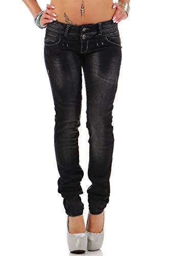 Cipo & Baxx Sexy Damen Jeans Hose Hüftjeans Skinny Slim Fit Stretch Röhre Design, Schwarz, 28W / 34L