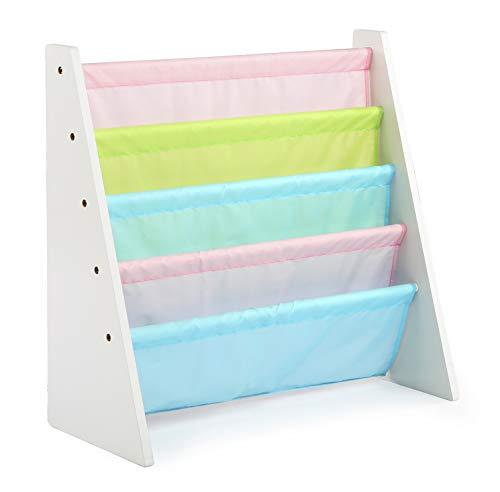 Humble Crew Kids Book Rack Storage Bookshelf, White/Pastel (Pastel Collection)