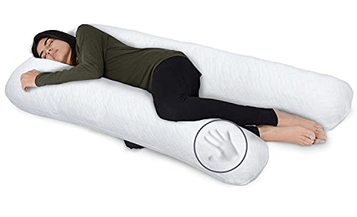 Milliard U Shaped Total Body Support Pillow Memory Foam with Cool, White Breathable Cover- 54 Inch