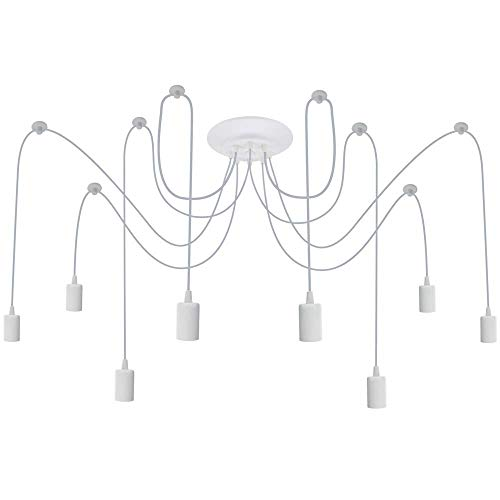 PrimeMatik - Lampe für 8 Glühbirnen von E27 Gewinde mit 3m Kabel Weiss
