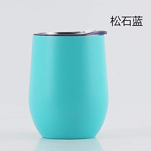 Heliansheng Taza Termo de Acero Inoxidable de 12 oz para Vino Tinto, Taza de plástico para Huevos en Aerosol, Taza de Cerveza al vacío, Azul turquesa-12 oz-G624