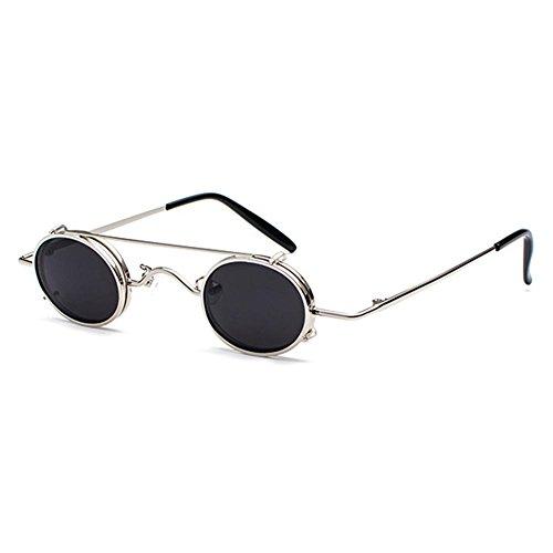 Kunfang Retro Steampunk Sonnenbrille Männer Frauen Kleine Größe Metall Punk Sonnenbrille Abnehmbare Doppelobjektiv Brille UV400
