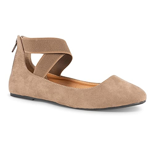 Twisted Sara Womens Flats with Ankle Strap | Elastic Strap Ballet Flats for Women with Zipper Back, Comfort Insole, Taupe, 8