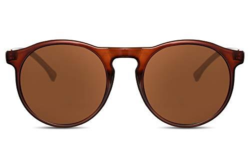 Cheapass Gafas de Sol Unisex Redondas Inspiración Diseñador Marrones Transparentes con Cristales Marrones Protección UV400